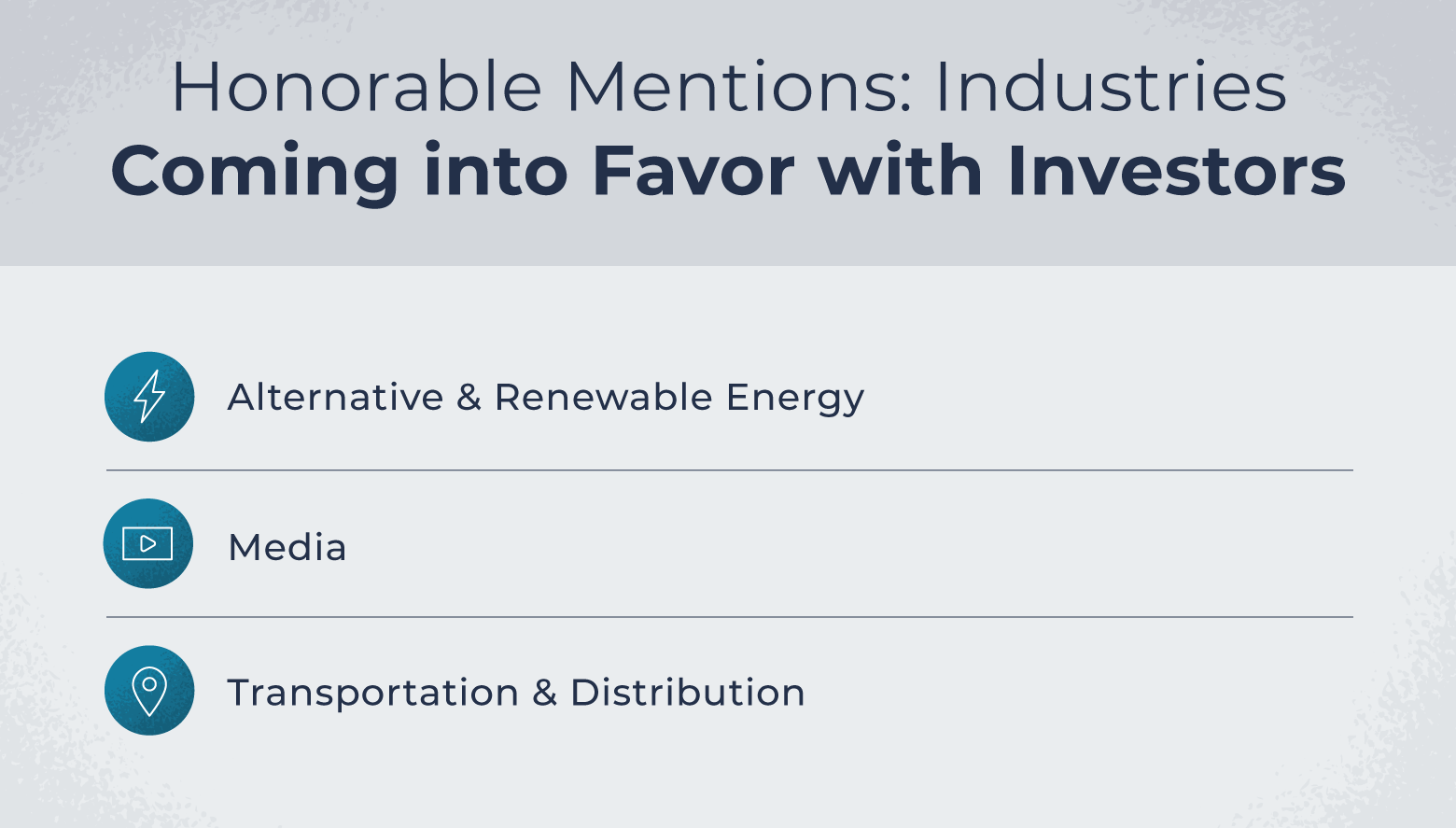 Sectors just outside of the top ten best by investor interest