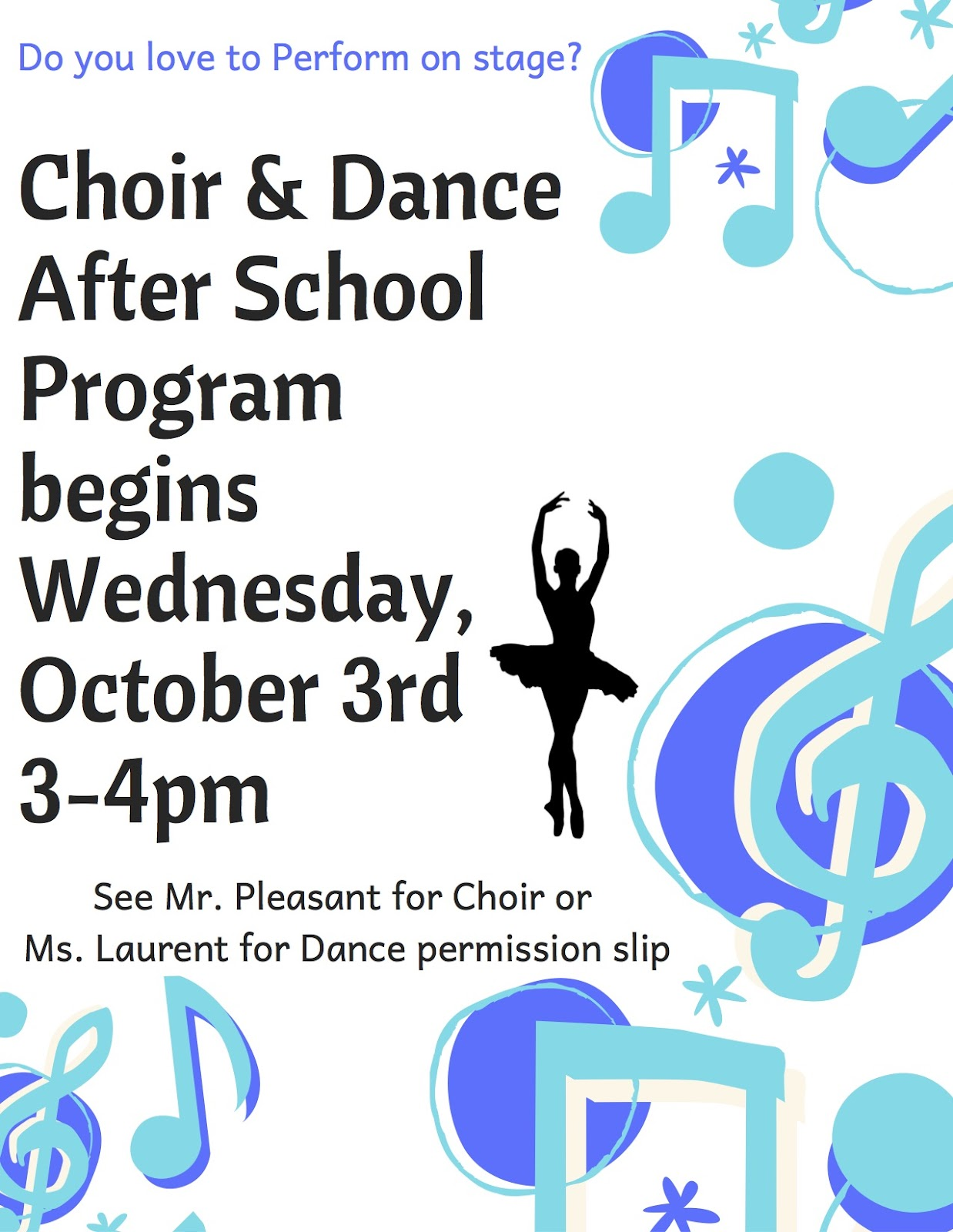 After School Choir and Dance Begins - News and Announcements
