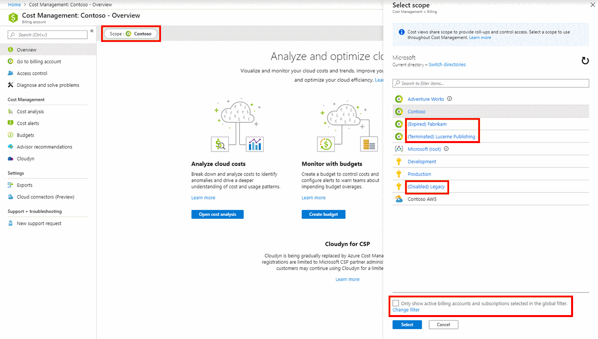 """Azure Cost Management + Billing on Twitter: """"Working with scopes just got a  little easier: #AzureCostManagement now prioritizes active billing accounts  and hides inactive ones by default in the scope picker, helping"""