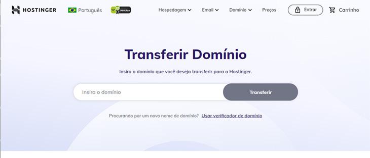 transferência de domínios através da hostinger