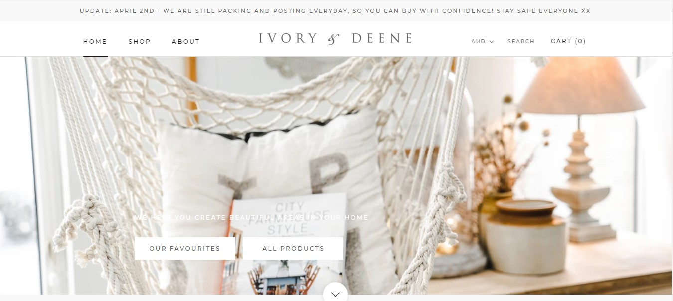 Ivory and Deene's landing page - home decor