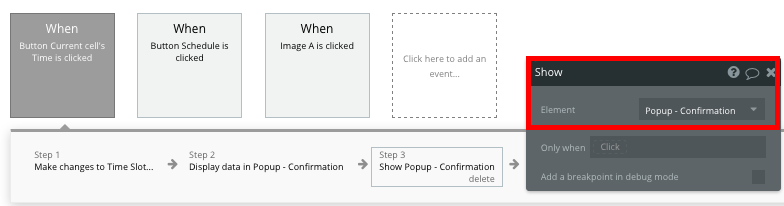 Bubble no code Zocdoc clone workflow events