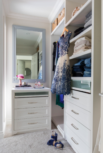 Fresh, traditional master suite design and renovation with walk-in closet in Calgary