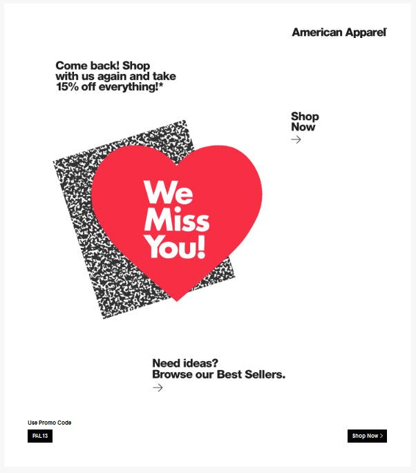 win back email campaign example_ American Apparel