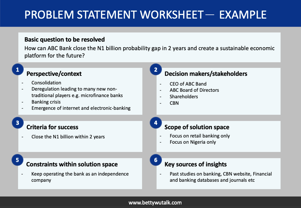 Problem statement worksheet example