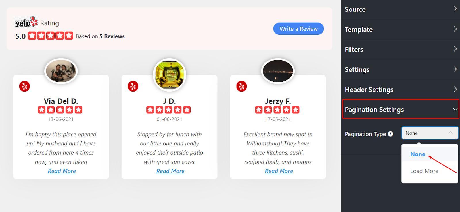 Yelp reviews Pagination Settings