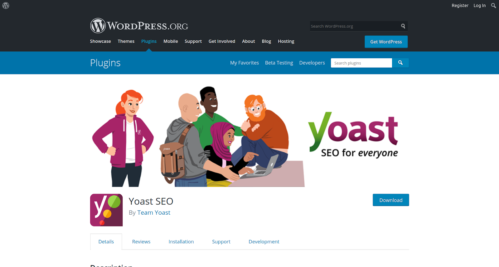 yoast wordpress seo plugin page