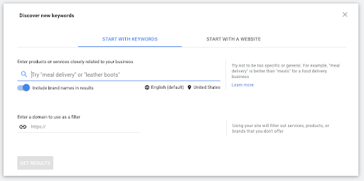 "Google's Keyword Planner Tool ""Discover new keywords"" screen."