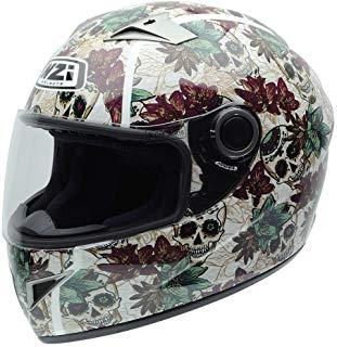 NZI 050264G684 Vital Graphics Crossbones Casco De Moto, Color Beige/Verde Granate, Talla 56 (S)