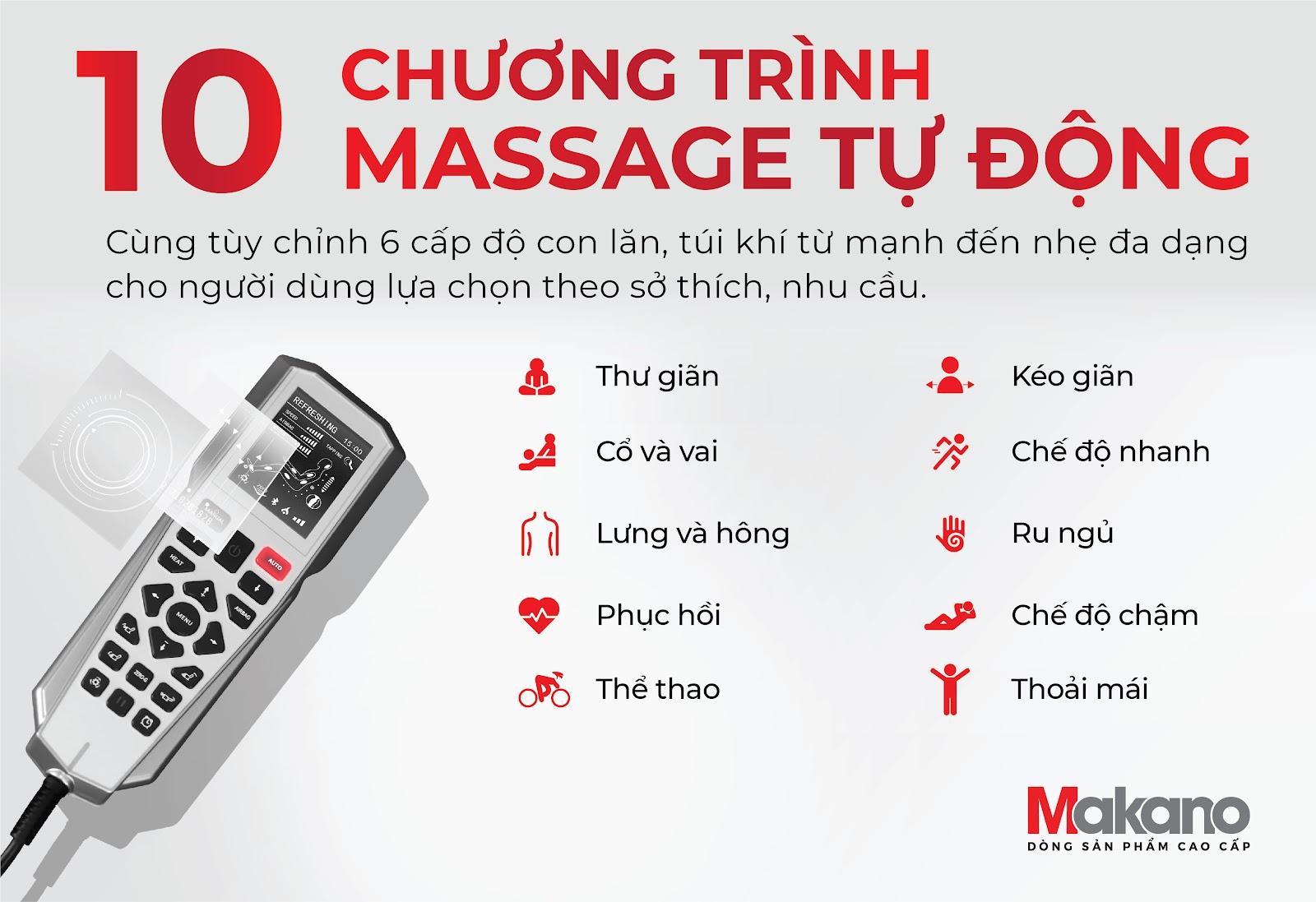 10 chương trình ghế massage được lập trình tự động