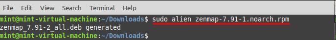 Install Zenmap in Linux Mint - install Alien. Source: nudesystems.com