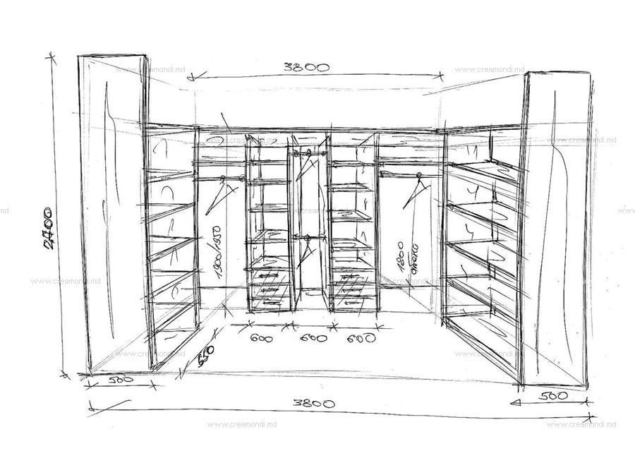 Эскиз гардеробной комнаты из кладовки