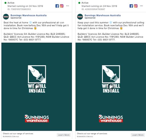 Bunnings ad - split test example