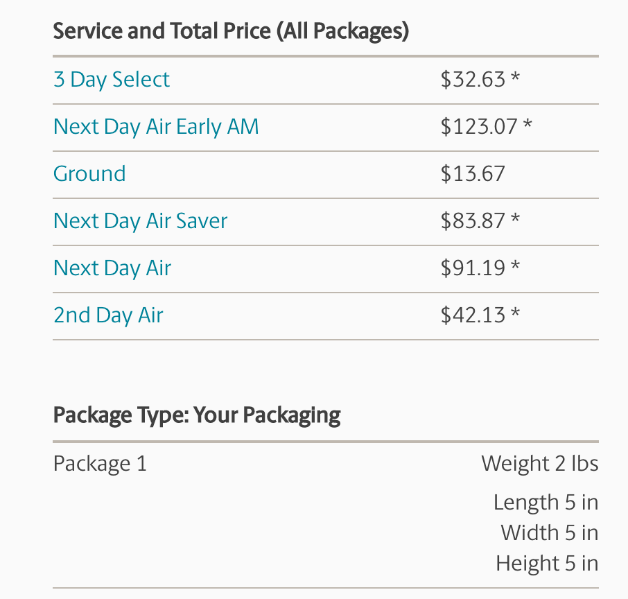UPS Next Day Rates Example