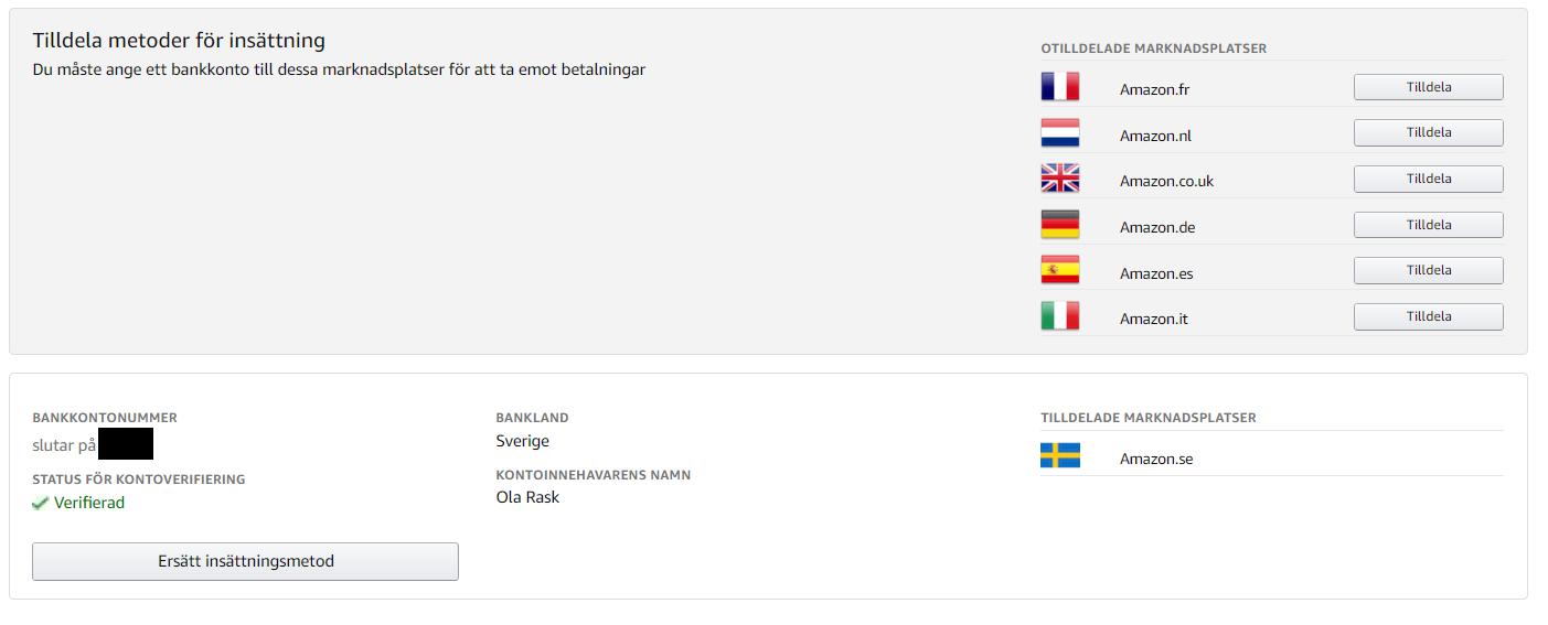 Verifierat bankkonto i Seller Central Sverige