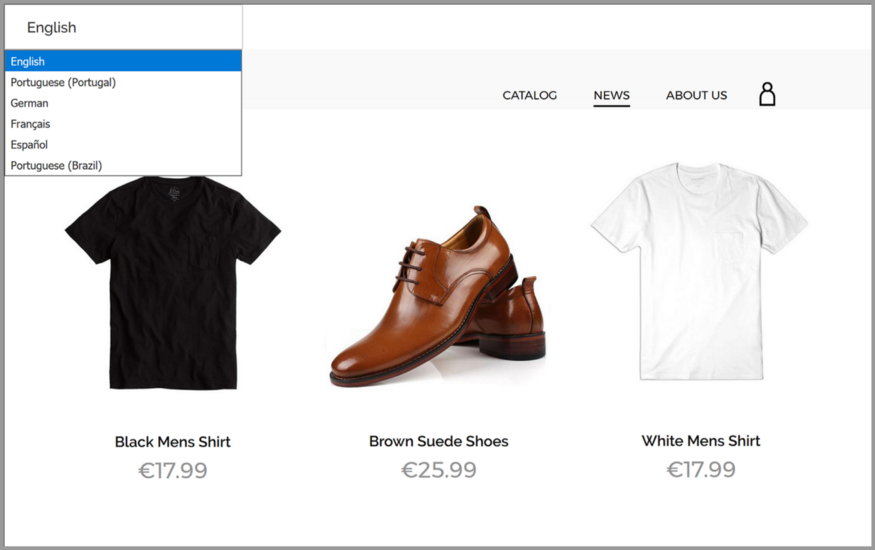 Example of the switch option between Shopify global stores