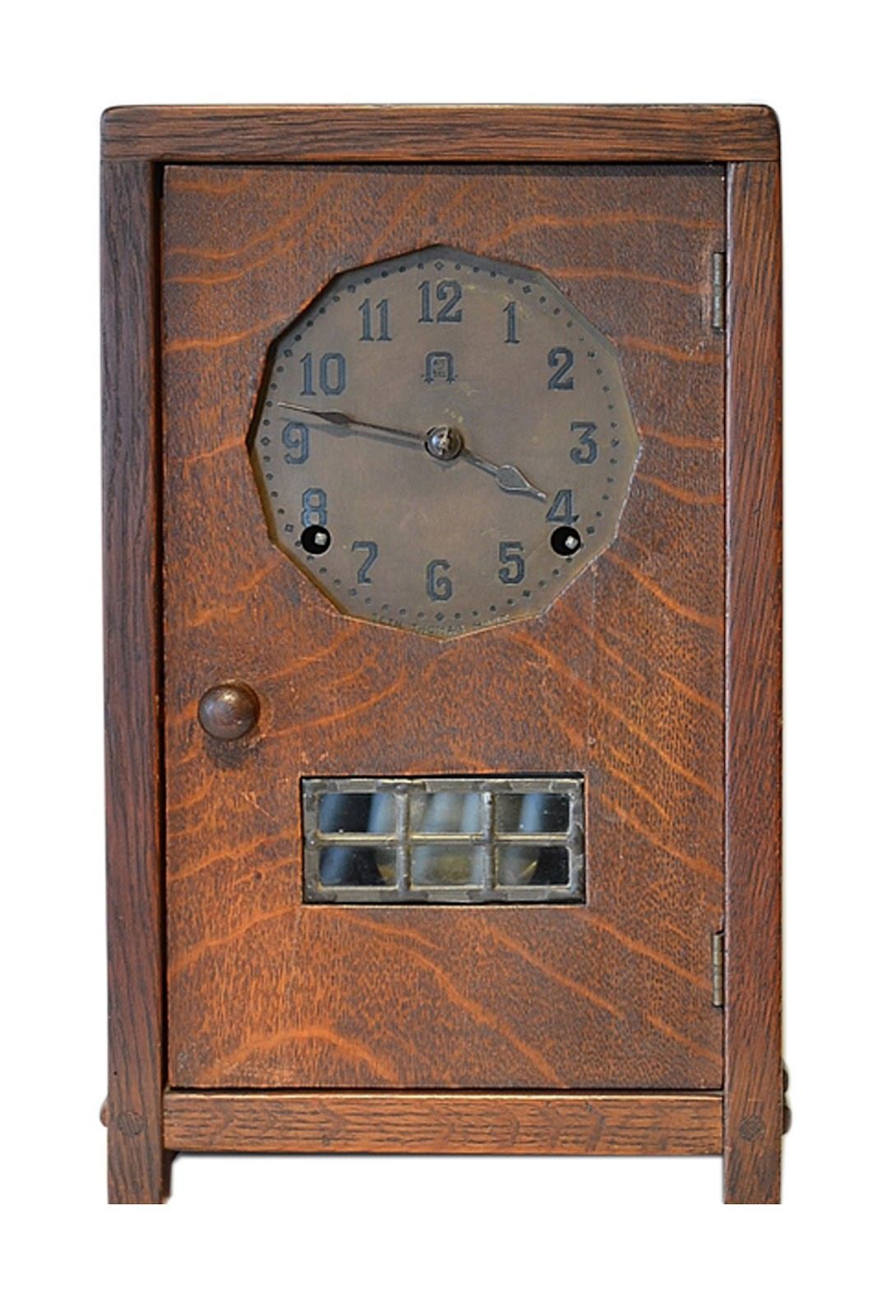 "Gustav Stickley Mantel Clock 14"" tall. Photo courtesy of Dalton's American Decorative Arts."