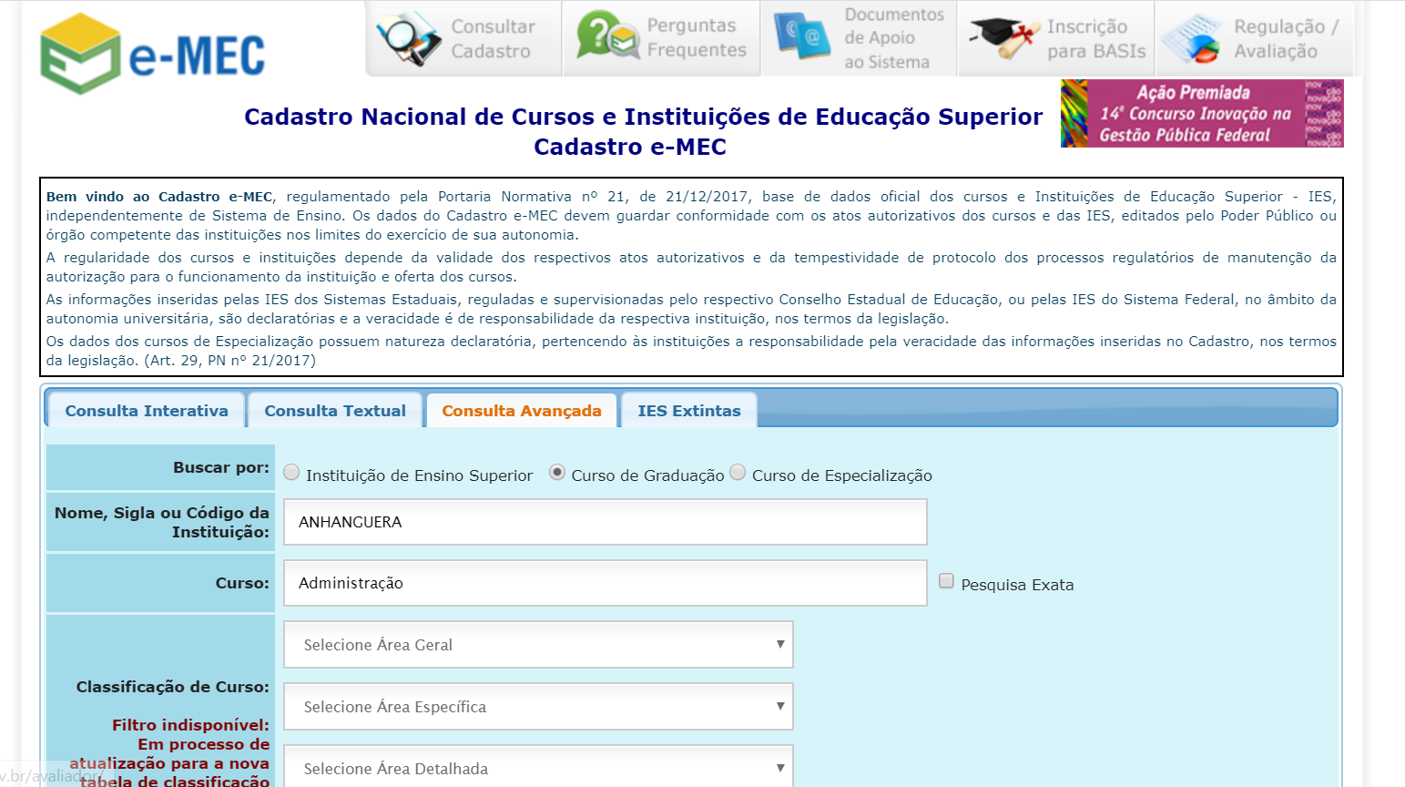 como ver a nota do meu curso Anhanguera no site do e-mec