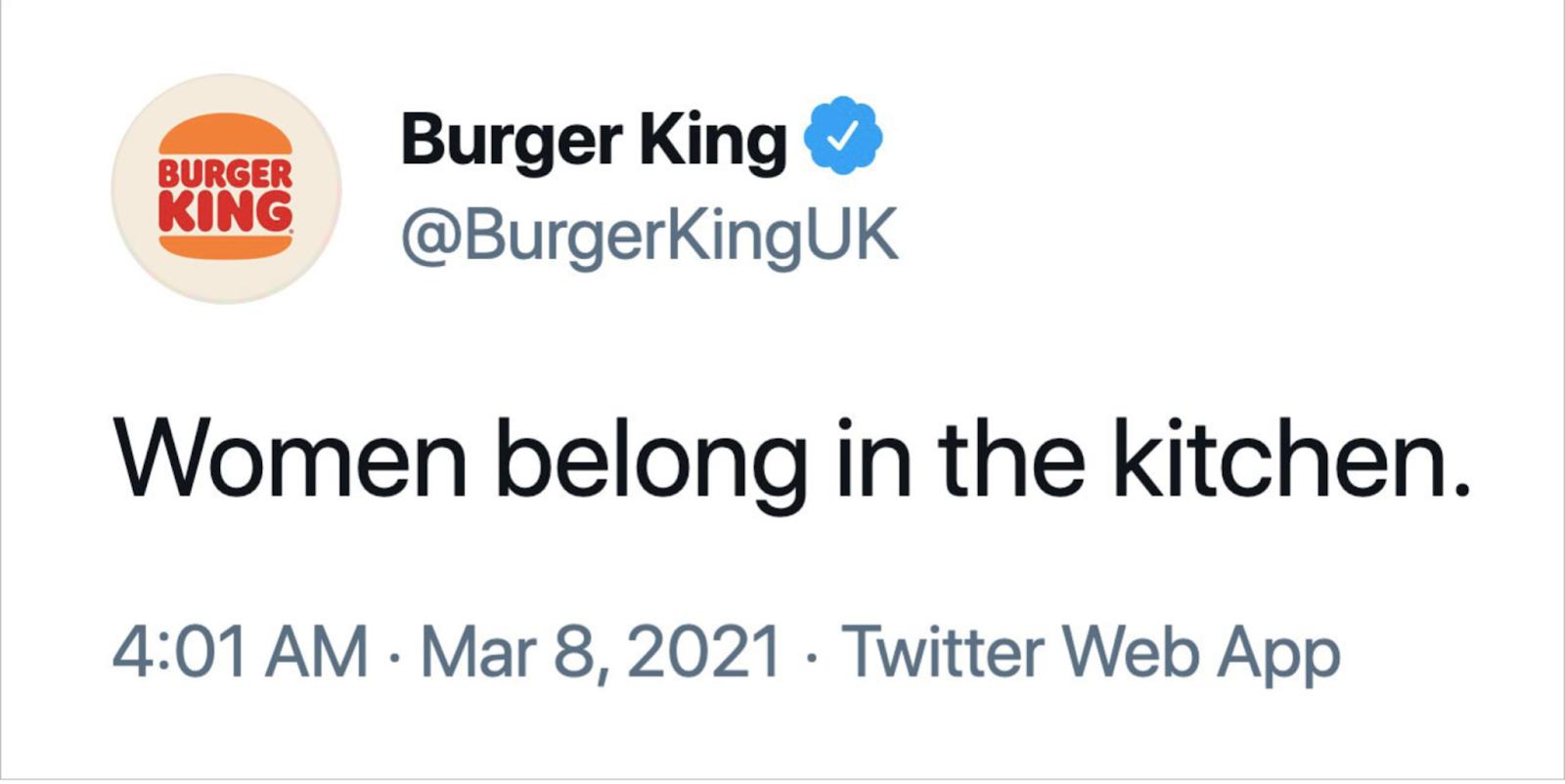 Burger King Brand Fail 2021 Tweet
