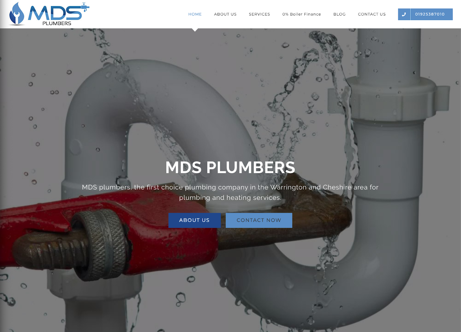 Landing page of a plumbers' website