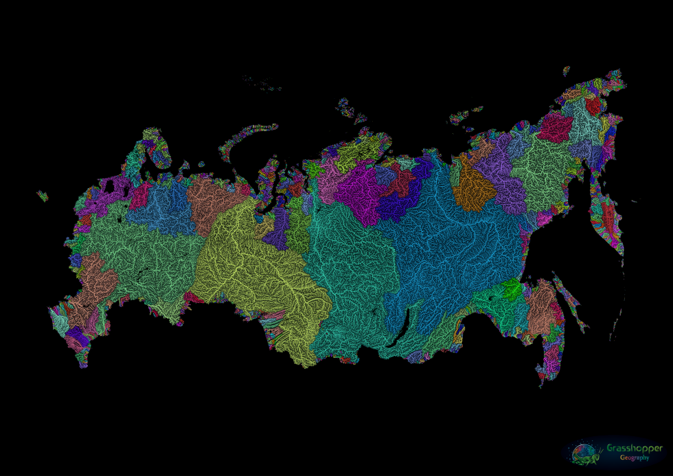 Four of the world's largest drainage basins are in Russia: the Ob, Yenisei and Lena (origin of Vladimir I. Ulyanov's nom de guerre, Lenin) entirely and the Amur, shared with China. The Volga may be Europe's longest river, but 84 percent or Russia's surface water is east of the Urals, in Siberia. The sparsely-populated region is traversed by 40 rivers longer than 1,000 km. Combined, the Ob, Yenisey and Lena rivers cover a drainage area of about 8 million km2, discharging nearly 50,000 m3 of water per second in the Arctic. Image: Grasshopper Geography