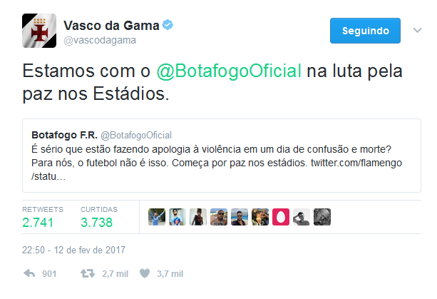 Vasco dá apoio ao Botafogo contra violência rubro negra.