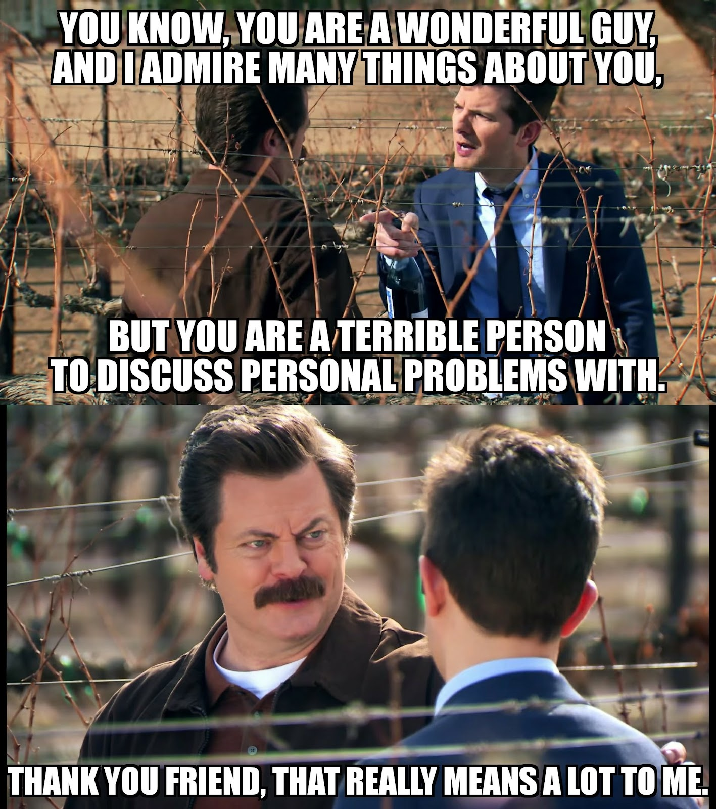 Ron Swanson bad in relationship problems