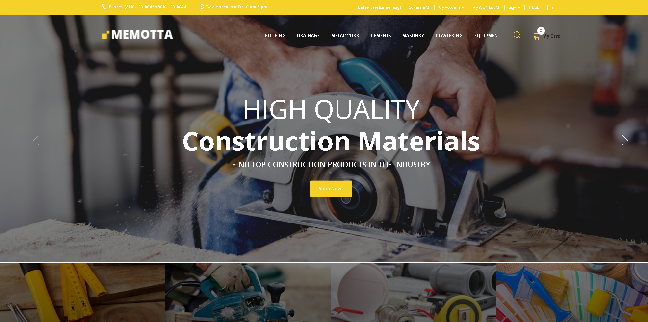Memotta building materials opencart theme