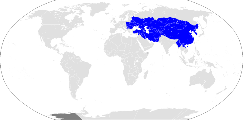 World map displaying the extent of the Mongol empire at its height.