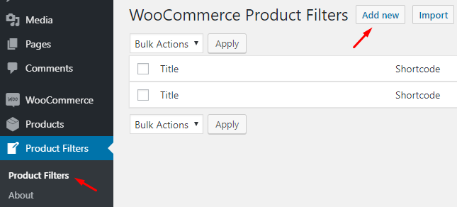 Example of product filtering in WordPress and WooCommerce
