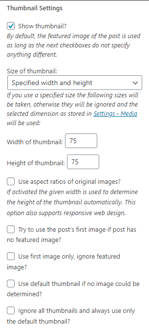 Pengaturan thumbnail plugin recent post