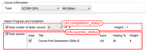 iSpring Learning Course tab, Report Progress and Completion conforms to cmi.completion_status and cmi.success_status