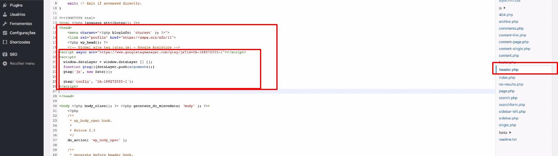 colocando codigo de google analytics no site