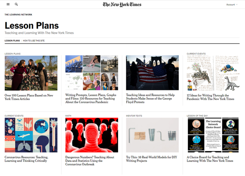 9 Free Virtual Lesson Plans for Teachers: New York Times