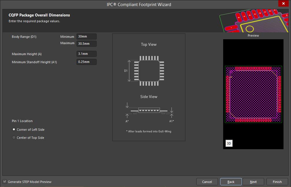 Festlegen der Abmessungen eines  IPC-konformen Footprint-Modells mit Altium Designer