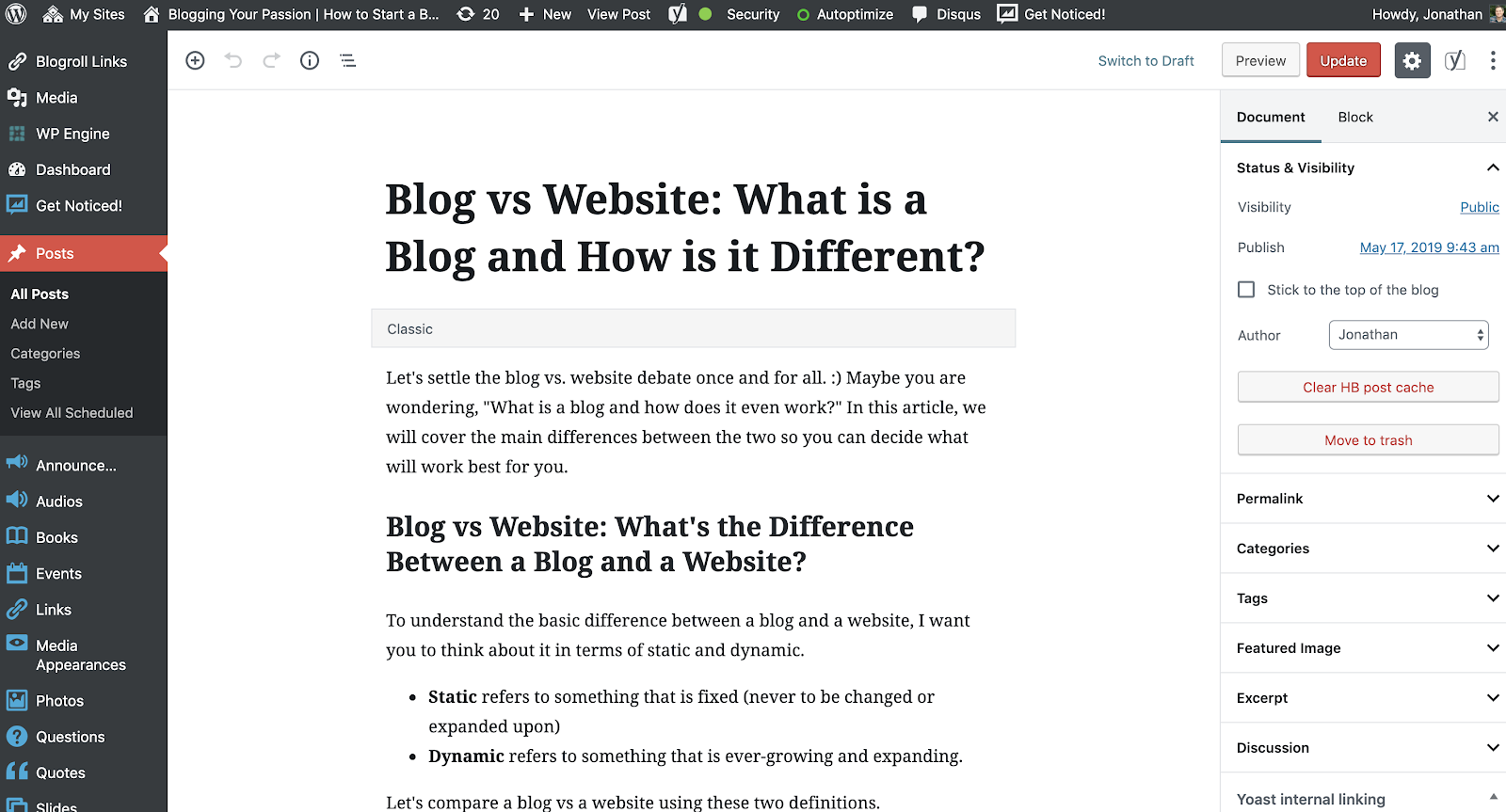 blog writing in WordPress