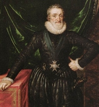 Personnalité de l'Albret : ici, un détail d'un portrait d'Henri IV en majesté;