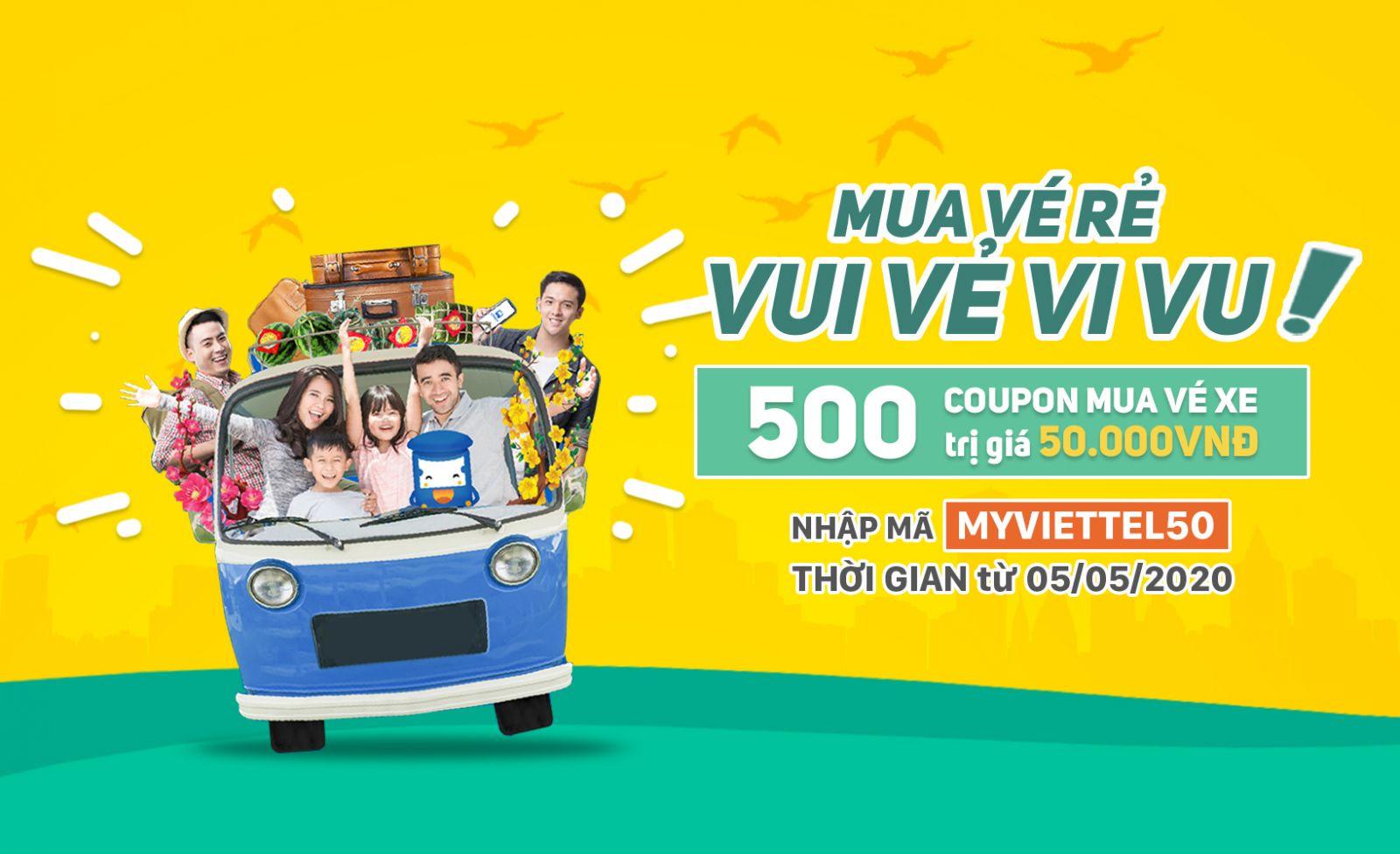500 Coupon mua vé xe trị giá 50k dành tặng khách hàng may mắn
