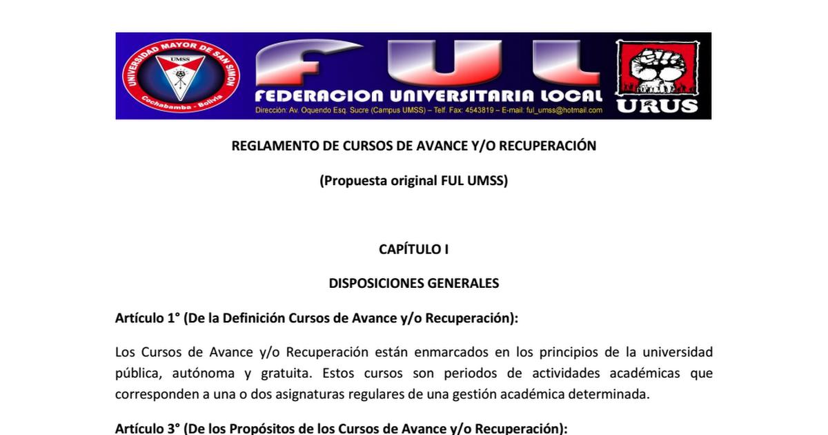 REGLAMENTO CURSOS DE AVANCE Y RECUPERACION (PROYECTO FUL).pdf ...