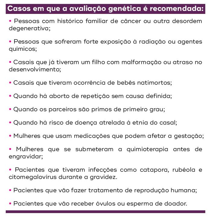 casos em que a avaliação genética é recomendada