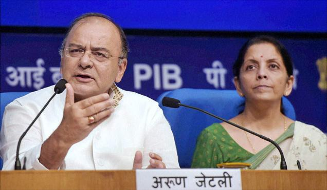 Bullish mood Union Finance Minister Arun Jaitley along with  Minister of State Nirmala Sitharaman at a press conference at  National Media Centre in New Delhi on Saturday. PTI