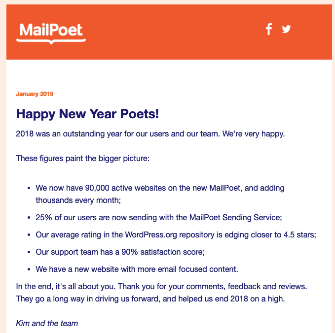An example of a MailPoet email.