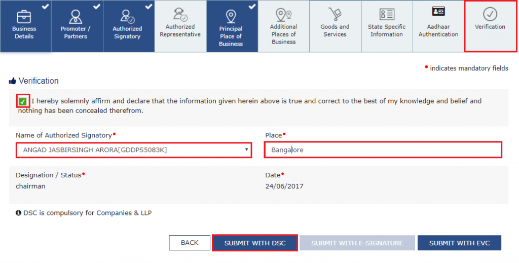 GST registration steps - 9