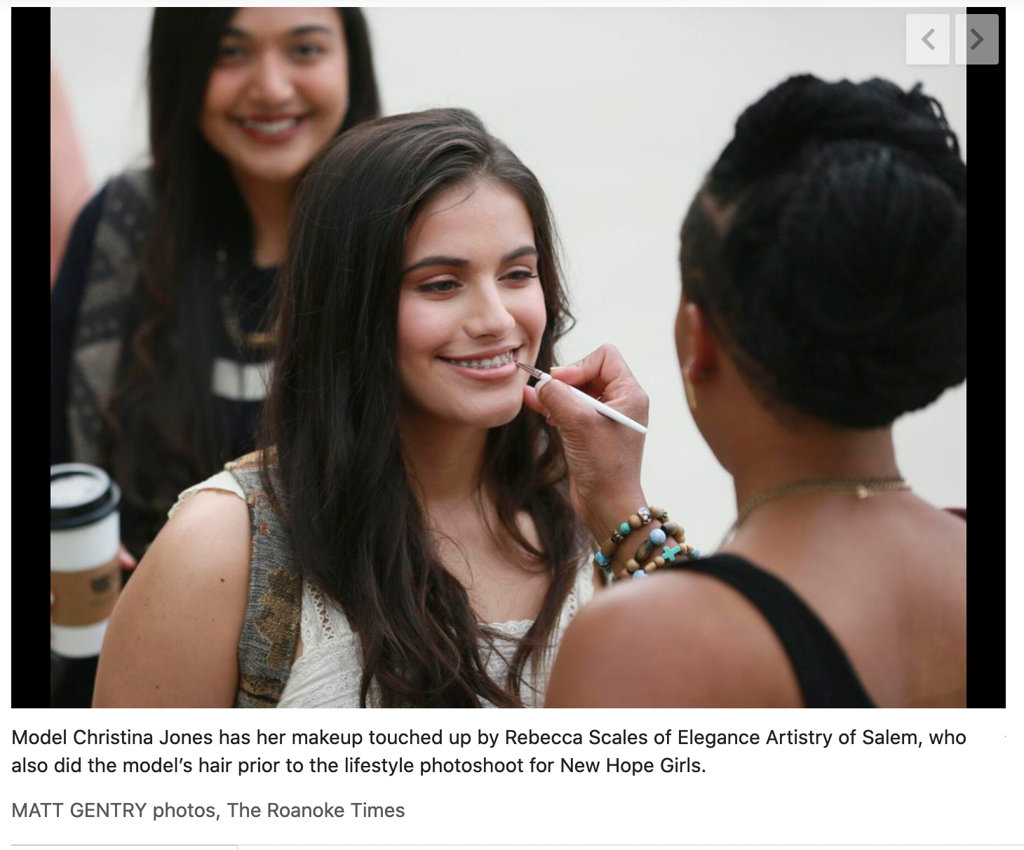 Photo from The Roanoke Times article about the New Hope Girls photo shoot.