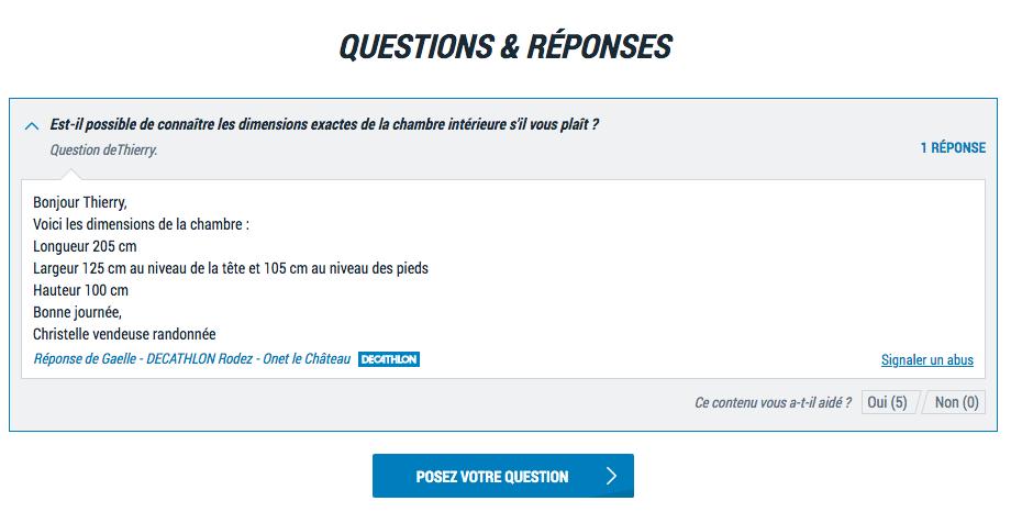 Copie écran d'un exemple de questions réponses sur le site decathlon.fr