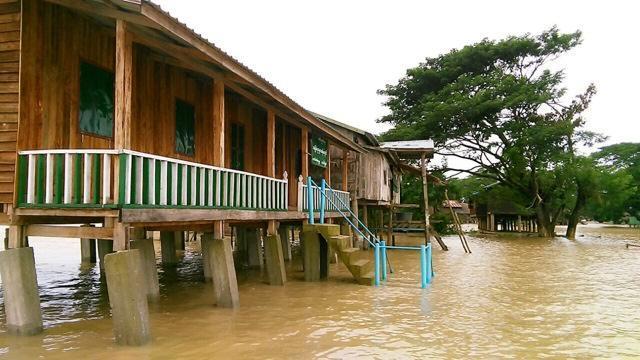 A school under flooding in Myanmar