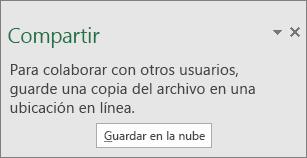 Aviso para guardar libro después de hacer clic en el botón Compartir de Excel 2016 para Windows