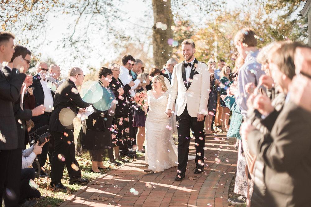 exit wedding reception bubbles
