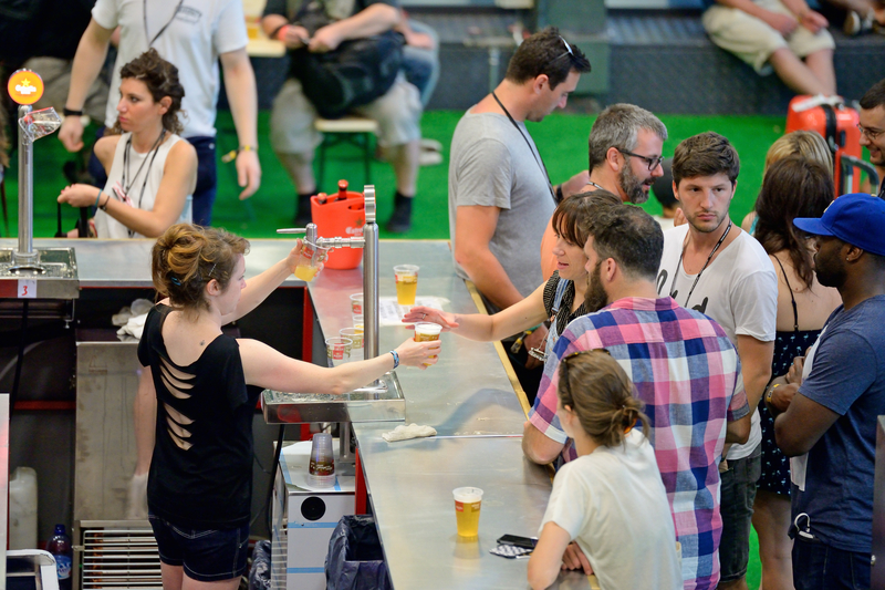 People Lining Up For Beer During Barcelona Beer Festival