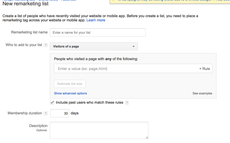 how to create Google remarketing lists